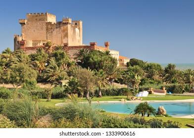 View of Falconara Castle in Licata. Sicily Italy.
