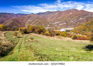 View of fall foliage and mountains in Great Rodopa National Park, along the Bulgaria