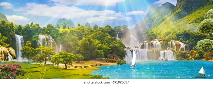 View of the falls and mountains. beautiful landscape. Mural