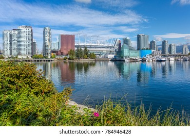 View of False Creek and Vancouver skyline, Vancouver, British Columbia, Canada, North America September 14 2017