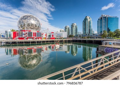 View of False Creek and Vancouver skyline, including World of Science Dome, Vancouver, British Columbia, Canada, North America 17 September 2017