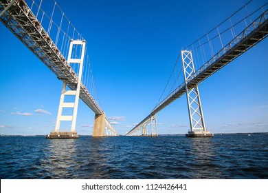 A view of the famous Annapolis Bay Bridge on a sunny day. Spanning the Chesapeake Bay, it connects the state's rural Eastern Shore region with the urban Western Shore.