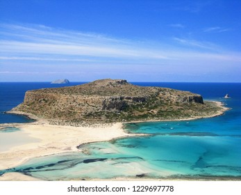View of famous Balos lagoon on Crete Island, near Kissamos, Greece. Popular destination for tourists. View from Balos beach trail viewpoint.