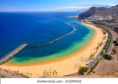 View of famous beach and ocean lagoon Playa de las Teresitas,Tenerife, Canary islands, Spain