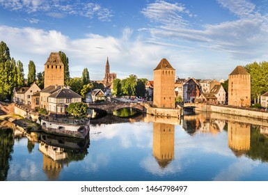 View of the famous bridge Ponts Couverts in Strasbourg, France.