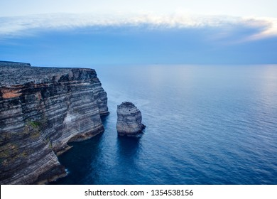 View of the famous cliff called Sacramento in Lampedusa, Sicily