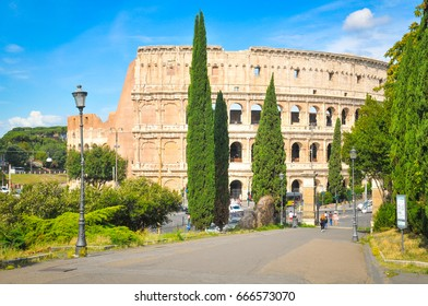 View of the famous Colosseum in Rome, Italy on a summer day