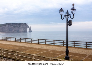 view of the famous Etretat cliffs from the embankment. France