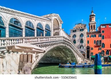 View at famous european and italian landmark Rialto Bridge in unique Venice city. / Rialto Bridge italian landmark./ Selective focus.