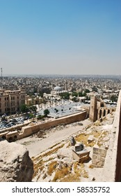 View from famous fortress and citadel in Aleppo