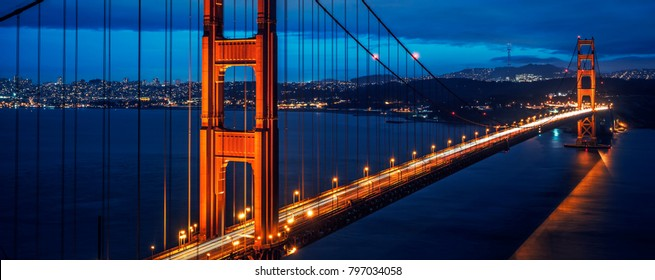 View of famous Golden Gate bridge by night, San Francisco, USA.