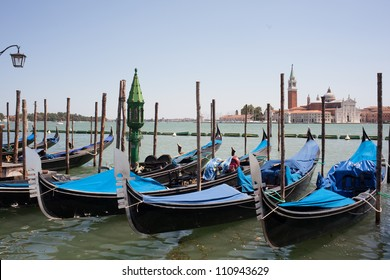 View of famous gondolas in Venice - Italy