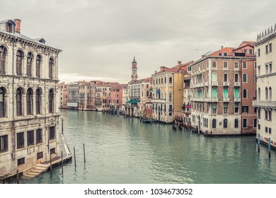 View of famous grand canale from Rialto Bridge. Amazing view on the beautiful Venice, Italy.