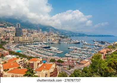 View of famous Hercules Port and surrounding buildings in Monte carlo, Monaco.