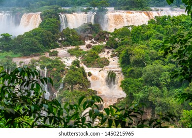View of the famous Iguazu Falls from Brazilian side. Iguazu falls are waterfalls of the Iguazu River at the border of Argentina and Brazil