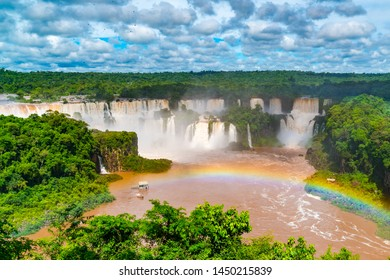 View of the famous Iguazu falls in Iguazu National Park Argentina from Brazil side