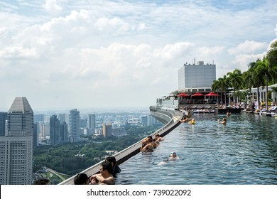View from famous Infinity Pool at Marina Bay Sands, Singapore. May 7, 2016