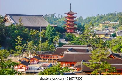 View at the famous Japanese shrines Itsukushima, Senjokaku and shinto pagoda at the island Miyajima, Japan