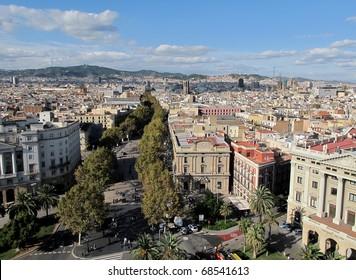 View of the famous la rambla in Barcelona