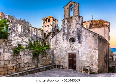 View at famous landmark in old ancient town Korcula, Croatia. / Marco Polo birth house Korcula. / Selective focus.