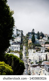 View at the famous Lombard Street in San Francisco USA