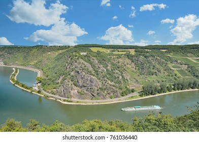 view to famous Loreley Rock at Rhine River,Rhineland-Palatinate,Germany