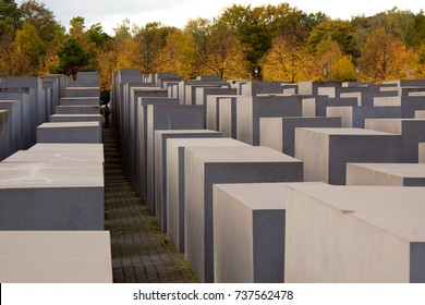 View of famous Memorial of the Jewish Holocaust near Brandenburg Gate, Berlin, Germany