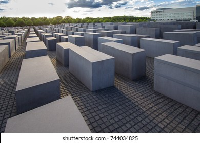View of famous Memorial of the Jewish Holocaust with the beautiful sky on the background, Berlin, Germany