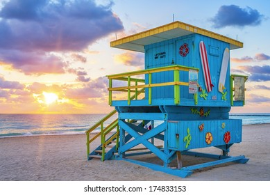 View of famous Miami South Beach sunrise with lifeguard tower