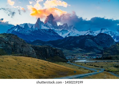 View of the famous Mount Fitz Roy or Cirro Fitz Roy at El Chalten Village in Los Glaciares National Park, Patagonia Argentina