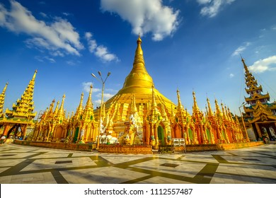 View of famous Myanmar pagoda Shwedagon in Yangon