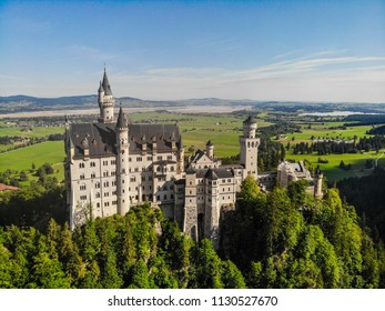 A view of the famous Neuschwanstein Castle in Füssen, Bavaria, Germany. The palace was commissioned by Ludwig II of Bavaria as a retreat and in honor of Richard Wagner in the 19th century.