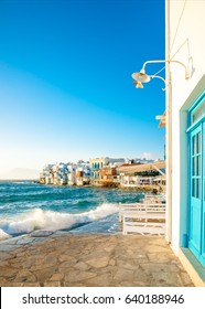 View of the famous pictorial Little Venice bay of Mykonos town in Mykonos island in Greece