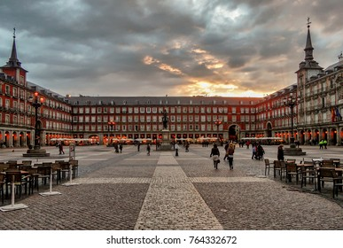 View of famous Plaza Mayor in downtown Madrid, Spain,  at dusk.