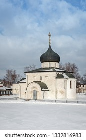 View of the famous Saint George Cathedral in Yuryev-Polsky from the ramparts in winter, Russia