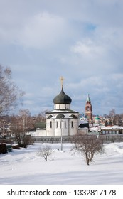 View of the famous Saint George Cathedral in Yuryev-Polsky from the ramparts, Russia