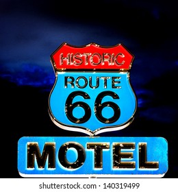 view of famous sign on Route 66 at night, USA