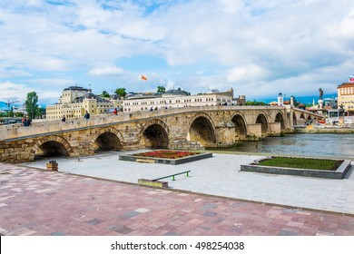 A view of a famous Stone bridge in Skopje, Macedonia