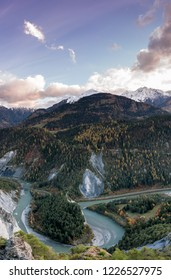view of the famous Swiss Grand Canyon or Ruinaulta Gorge below Flims in the Surselva region of the Alps of Switzerland at sunset on a late autumn day
