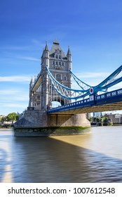 view of famous Tower Bridge over the River Thames, London, UK, England