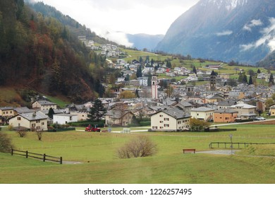 View from the famous train Bernina Express to the valley called Val Poschiavo, Graubünden, Switzerland