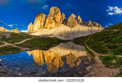 View of  famous Tre Cime peaks from Tre Cime di Lavaredo Loop trail, South Tyrol, Italy