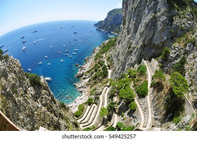 View of the famous Via Krupp and beautiful cliffs in the island of Capri in Italy, Europe