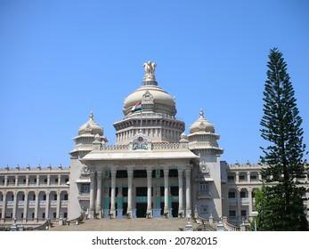 A view of the famous Vidhana Soudha - the Legislature and Secretariat building - in Bangalore city, Karnataka State, India.