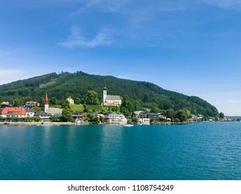 View to the famous village Attersee am See in the Austrian Salzkammergut