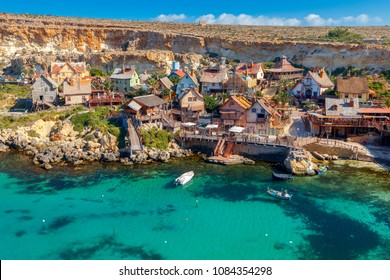 View of the famous village Popeye and bay on a sunny day. Malta.
