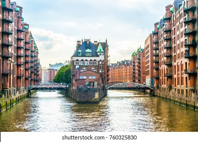 View of the famous water castle in the Speicherstadt warehouse district in Hamburg, Germany.