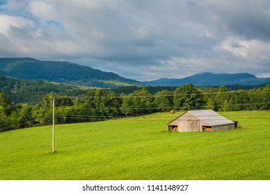 View of a farm and mountains in the rural Potomac Highlands of West Virginia.