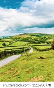 A view of the farmland inside Dartmoor National Park, Devon, United Kingdom