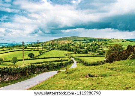 A view of the farmland inside Dartmoor National Park, Devon, United Kingdom